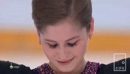 演技後、嬉し涙のリプニツカヤ選手