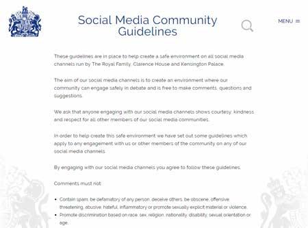 ロイヤルファミリーソーシャルメディアコミュニティーガイドライン